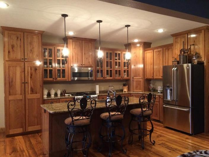 Hickory Kitchen Cabinets, Shaker style doors, Granite countertops