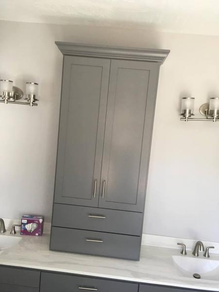 Grey painted medicine/linen bath cabinet with appliance pull.]
